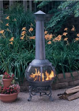 Chiminea Cast Iron Pinon Wood Chimenea Firepit
